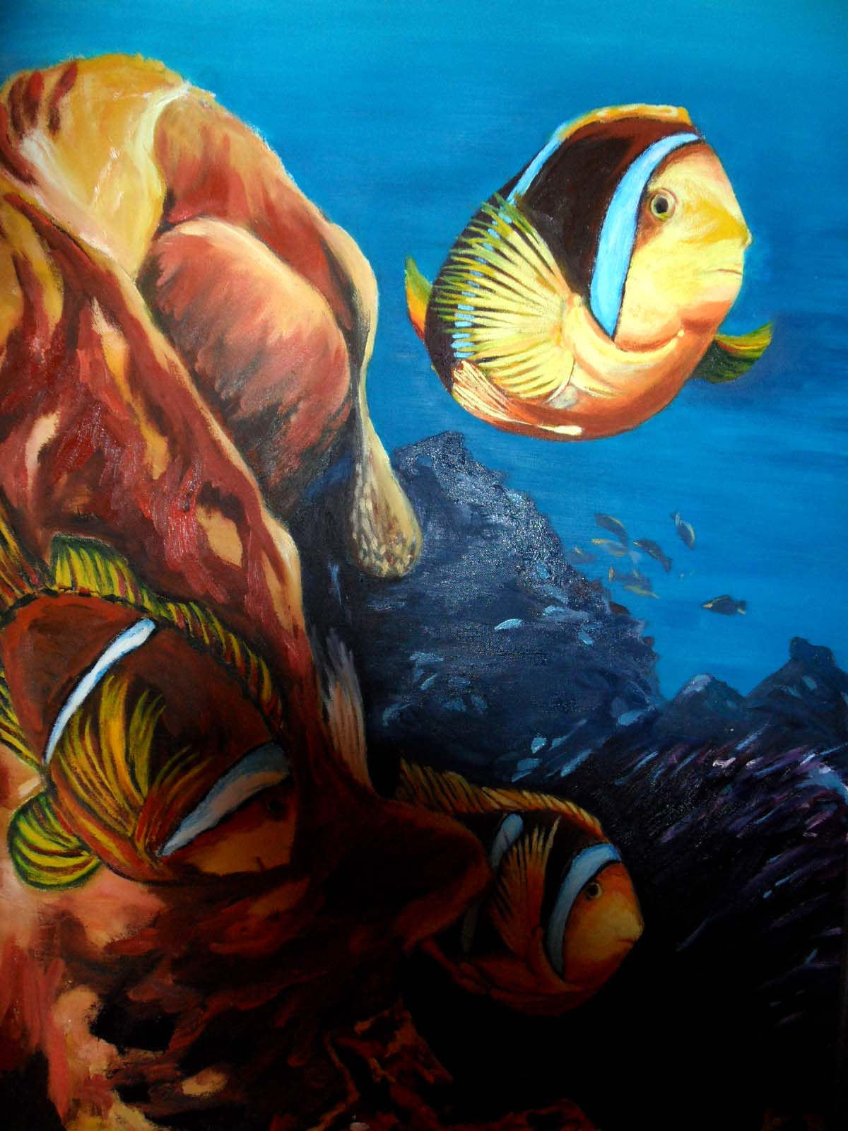 Clownfische - 70 x 100cm - Öl auf Leinwand