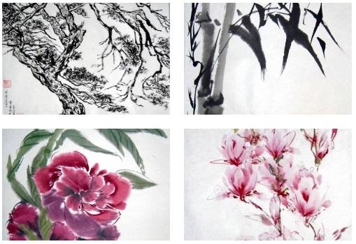 asiatische Malerei mit Tusche Pflanzen